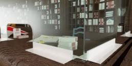 vitre de protection pare-haleine en verre accueil Covid-19