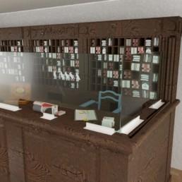 pare-haleine en verre pour réception hôtel Covid-19