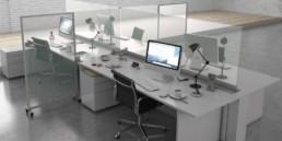 protection pare-haleine en verre pour bureaux