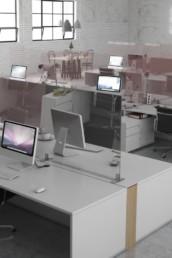 vitre de séparation en verre pour bureaux en open-space Covid-19