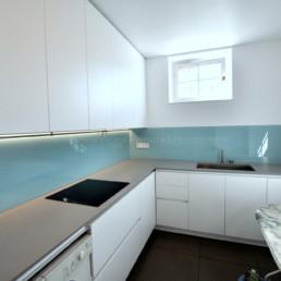 crédence cuisine en verre bleu